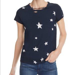 Pam & Gela Distressed Star Print T-Shirt Sz:L